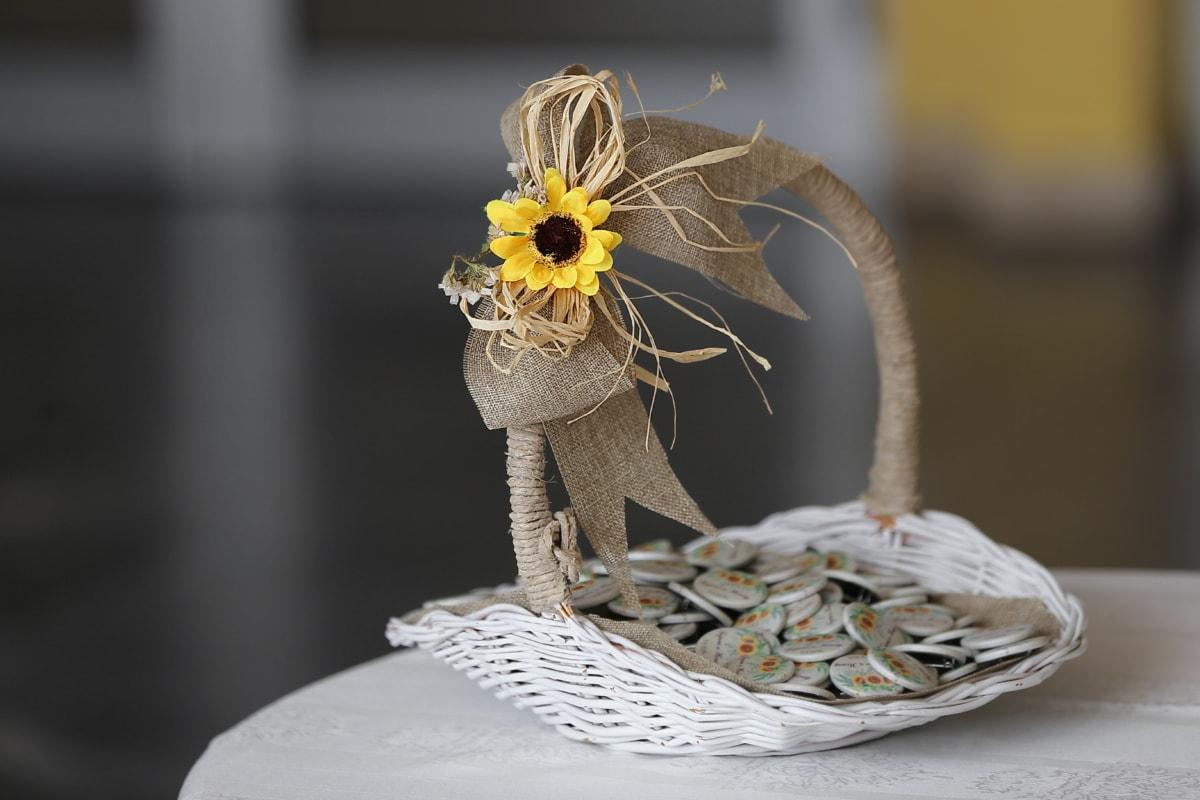 Sonnenblume, Dekoration, Weidenkorb, Blume, traditionelle, Still-Leben, handgefertigte, elegant, Zen, Luxus