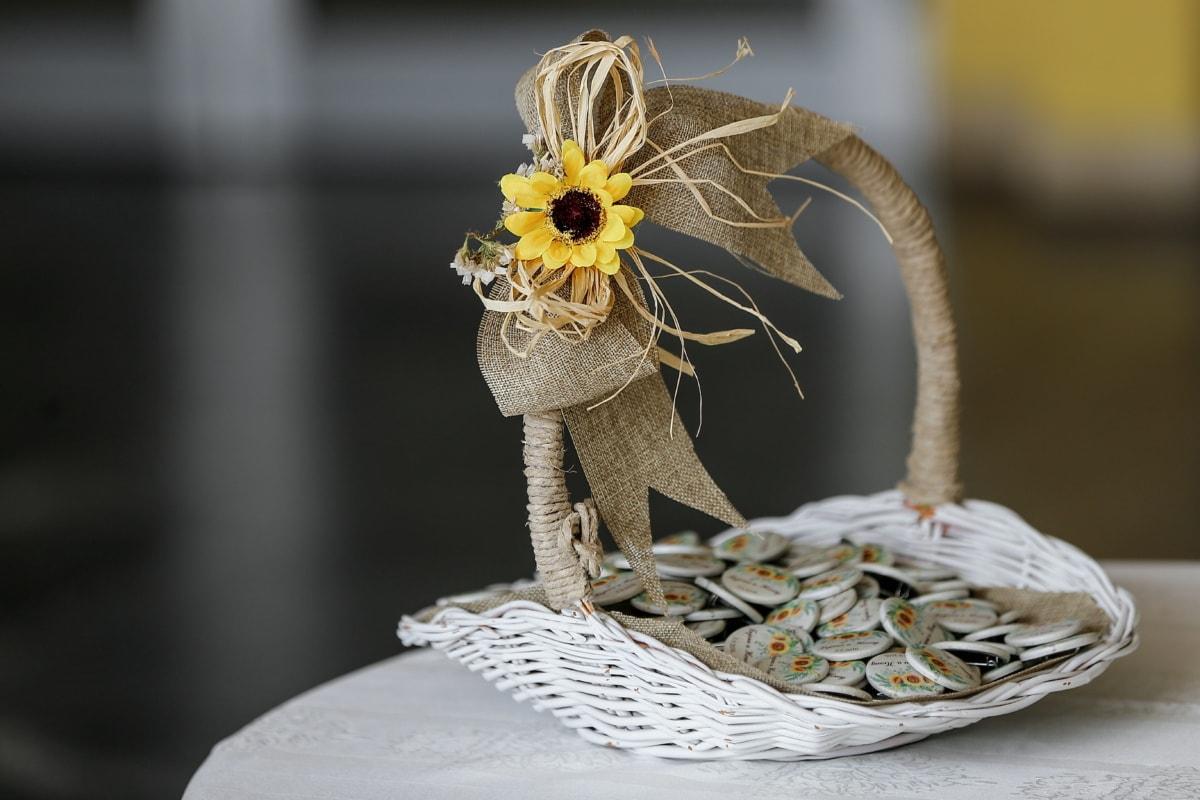 handgefertigte, Dekoration, Weidenkorb, Blume, hellbraun, Tabelle, traditionelle, Still-Leben, Holz, Luxus