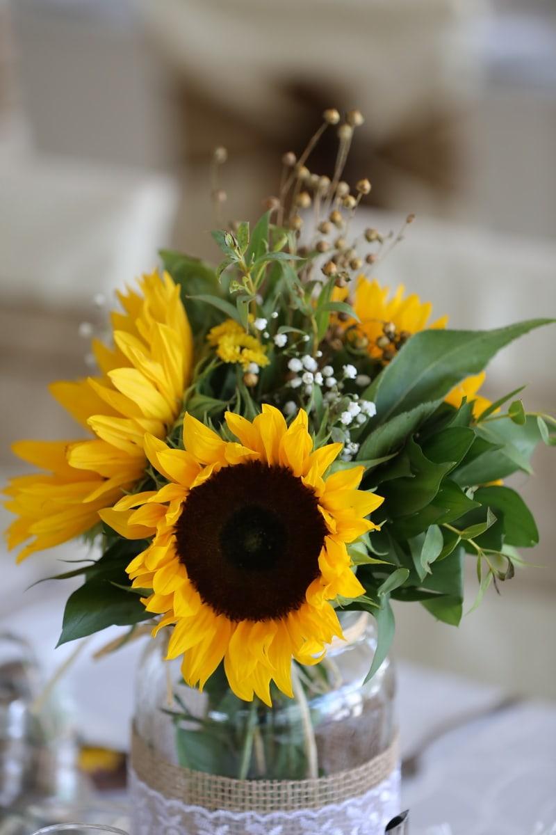 sunflower, vase, decoration, jar, beautiful flowers, handmade, yellow, leaf, still life, blur