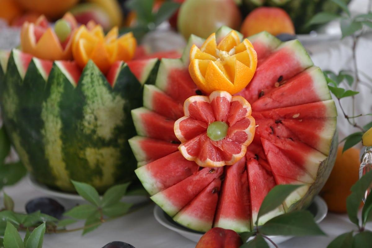 melon d'eau, oranges, zeste d'orange, sculptures, organique, agrumes, fait main, melon, arrangement, fleurs