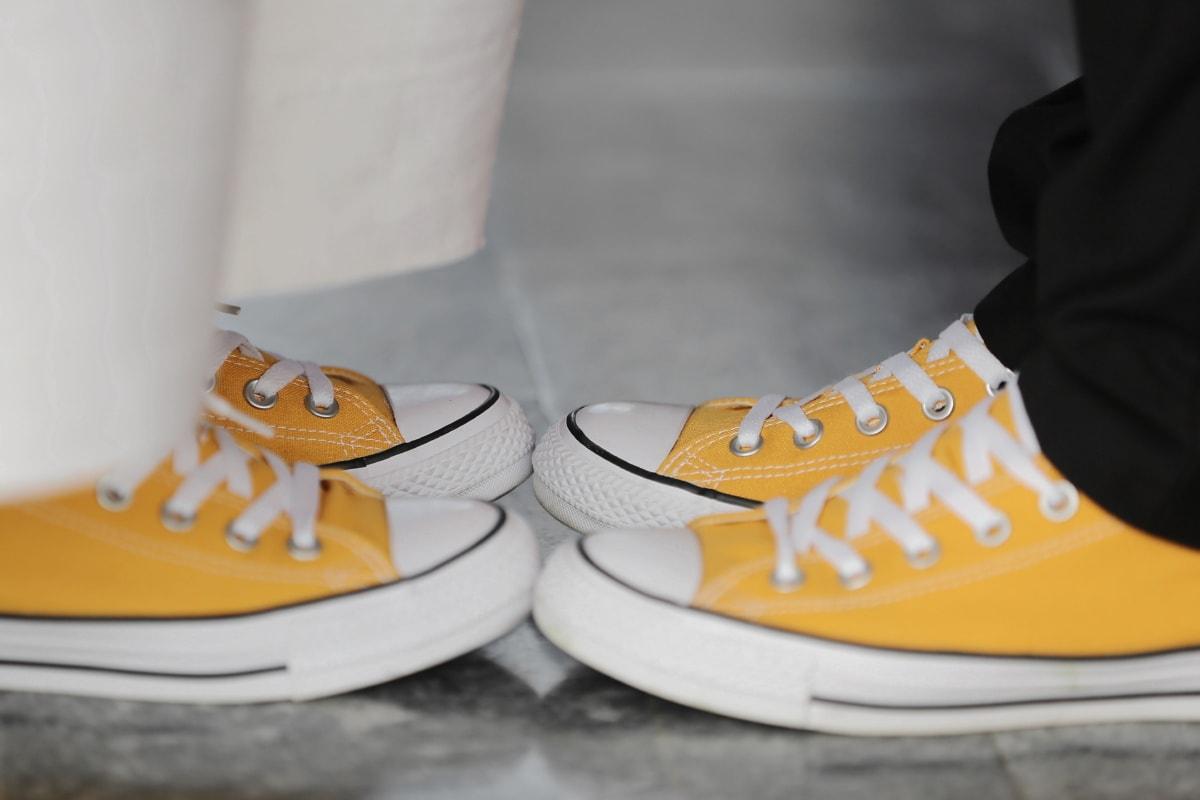paar, Mann, Turnschuhe, Frau, alten Stil, Altmodisch, Fuß, paar, Schuhe, Mode