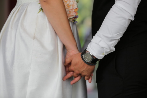 clock, wristwatch, arm, hands, groom, wedding dress, bride, wedding, woman, engagement