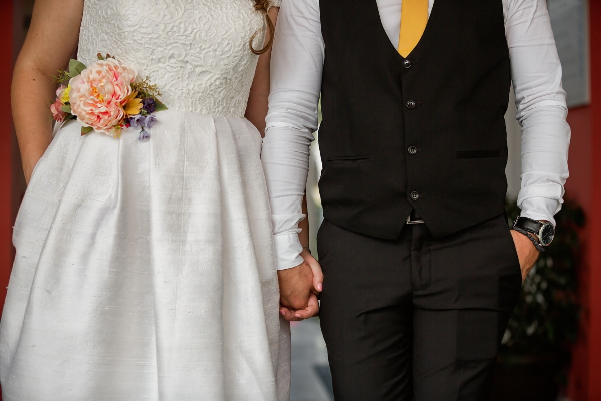 bryllup buket, bruden, samvær, bryllupskjole, hænder, brudgom, bryllup, mode, passer til, kjole