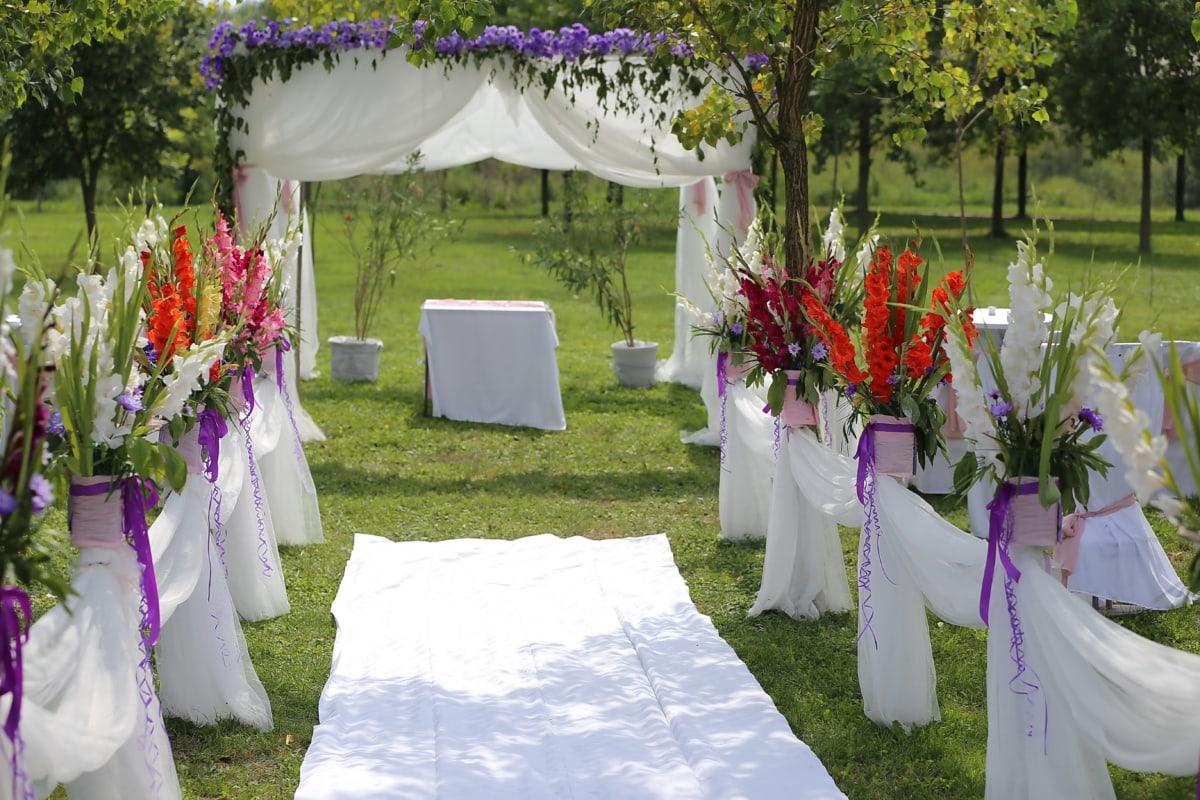 salle de mariage, mariage, vide, cérémonie, jardin, fleur, réception, paysage, mariage, célébration