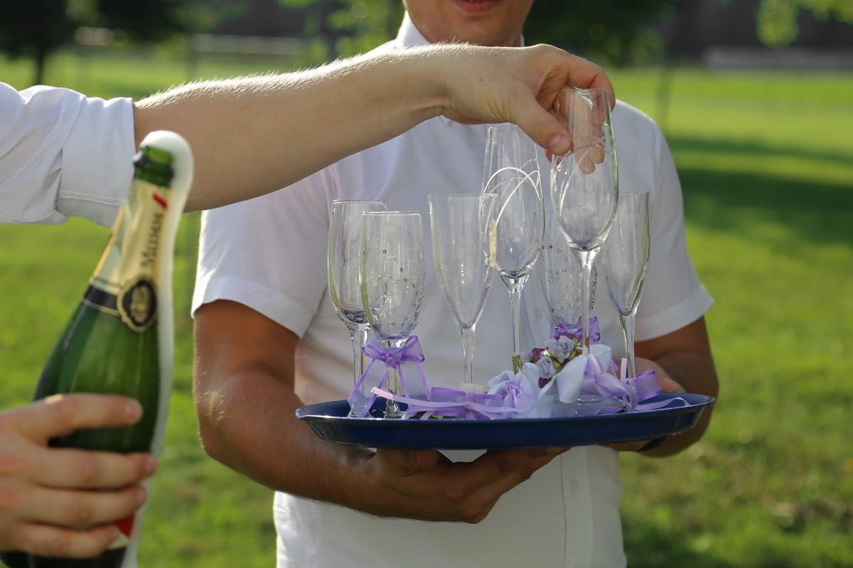 bottle, workers, outdoor, employee, white wine, bartender, picnic, champagne, wine, outdoors