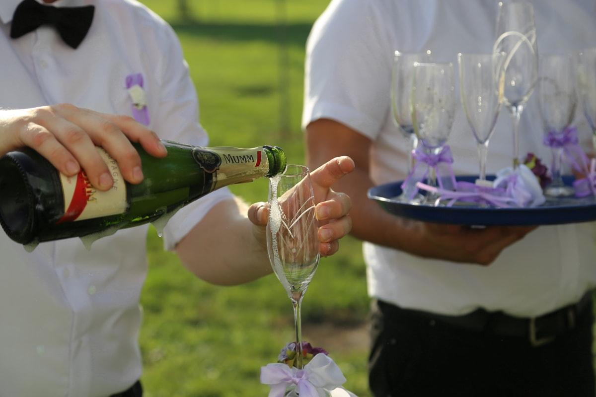 Champagne, barman, vin blanc, verre, célébration, boisson, vin, anniversaire, bouteille, gens