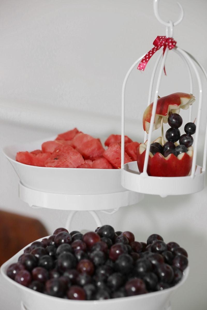 pomme, les raisins, melon d'eau, le petit déjeuner, décoratifs, bol, doux, fruits, alimentaire, délicieux