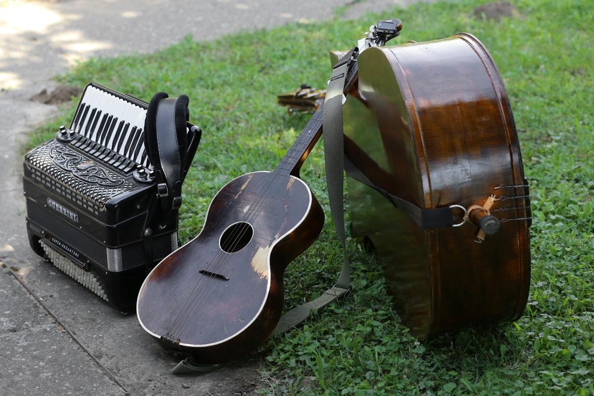 guitare acoustique, accordéon, violoncelle, musique, bois, son, classique, vieux, Vintage, Retro