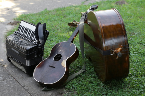 acoustic guitar, accordion, cello instrument, music, wood, sound, classic, old, vintage
