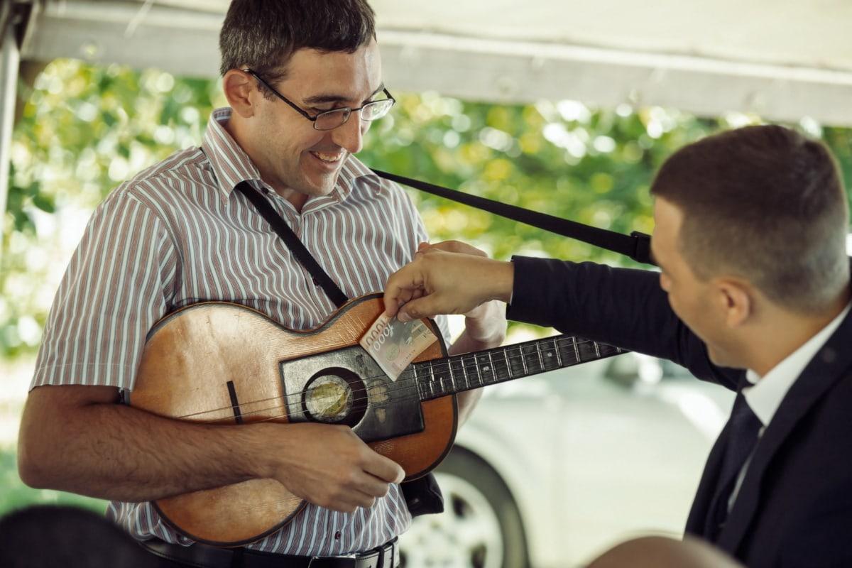 guitariste, guitare, argent, célébration, Smile, musicien, jouer, jouer, homme, musique