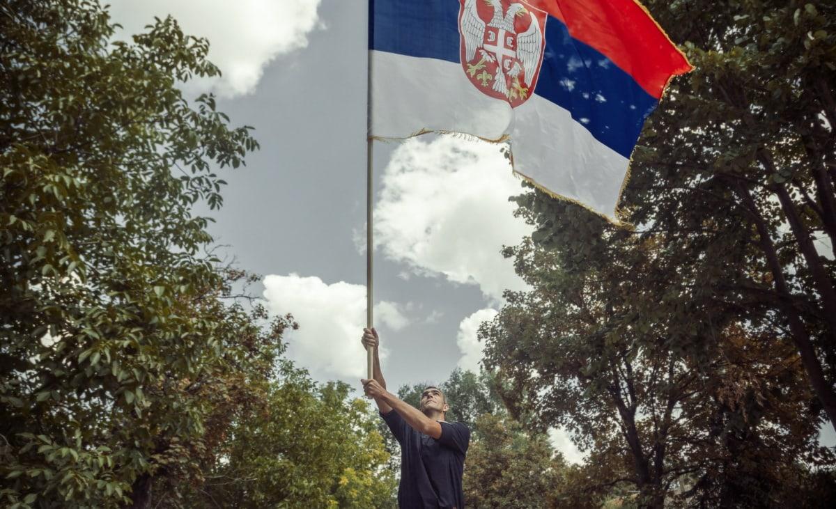 Flagge, stehende, Serbien, Mann, Feier, stolz, Erbe, Tricolor, Menschen, Patriotismus