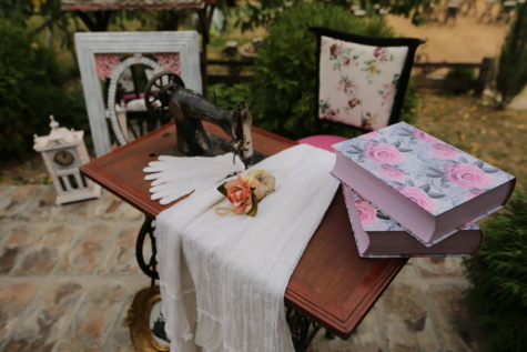 sewing machine, books, clothes, vintage, outdoors, wood, table, old, flower, furniture