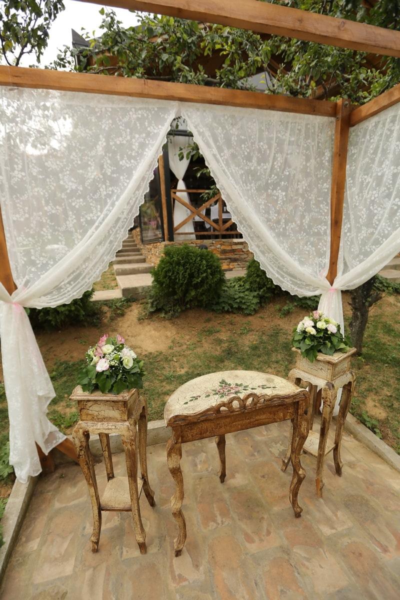 Garten, Terrasse, Hochzeitsort, alten Stil, Möbel, Haus, Stuhl, Holz, Hotel, Tabelle