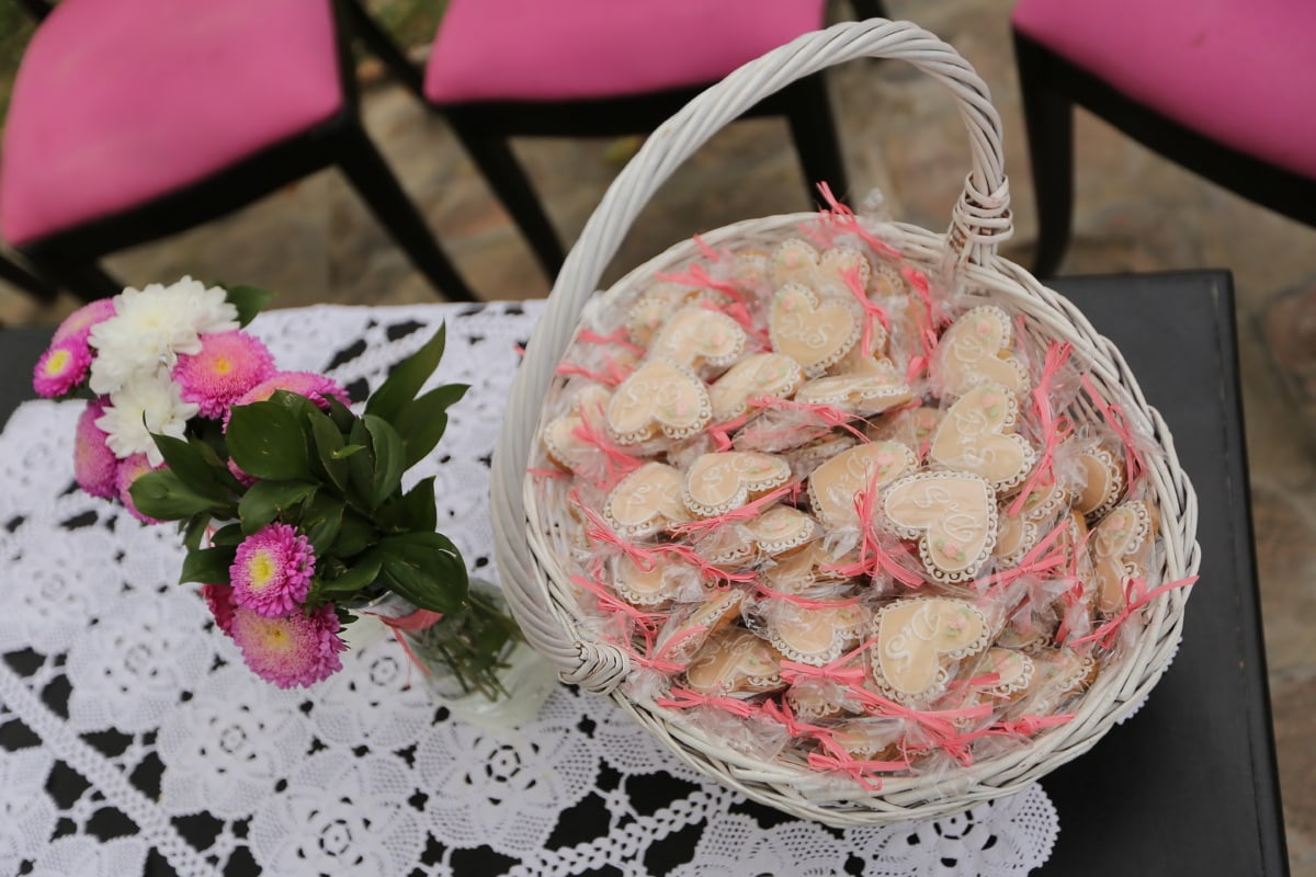 hearts, handmade, wicker basket, cookies, vase, tablecloth, table, food, traditional, flower