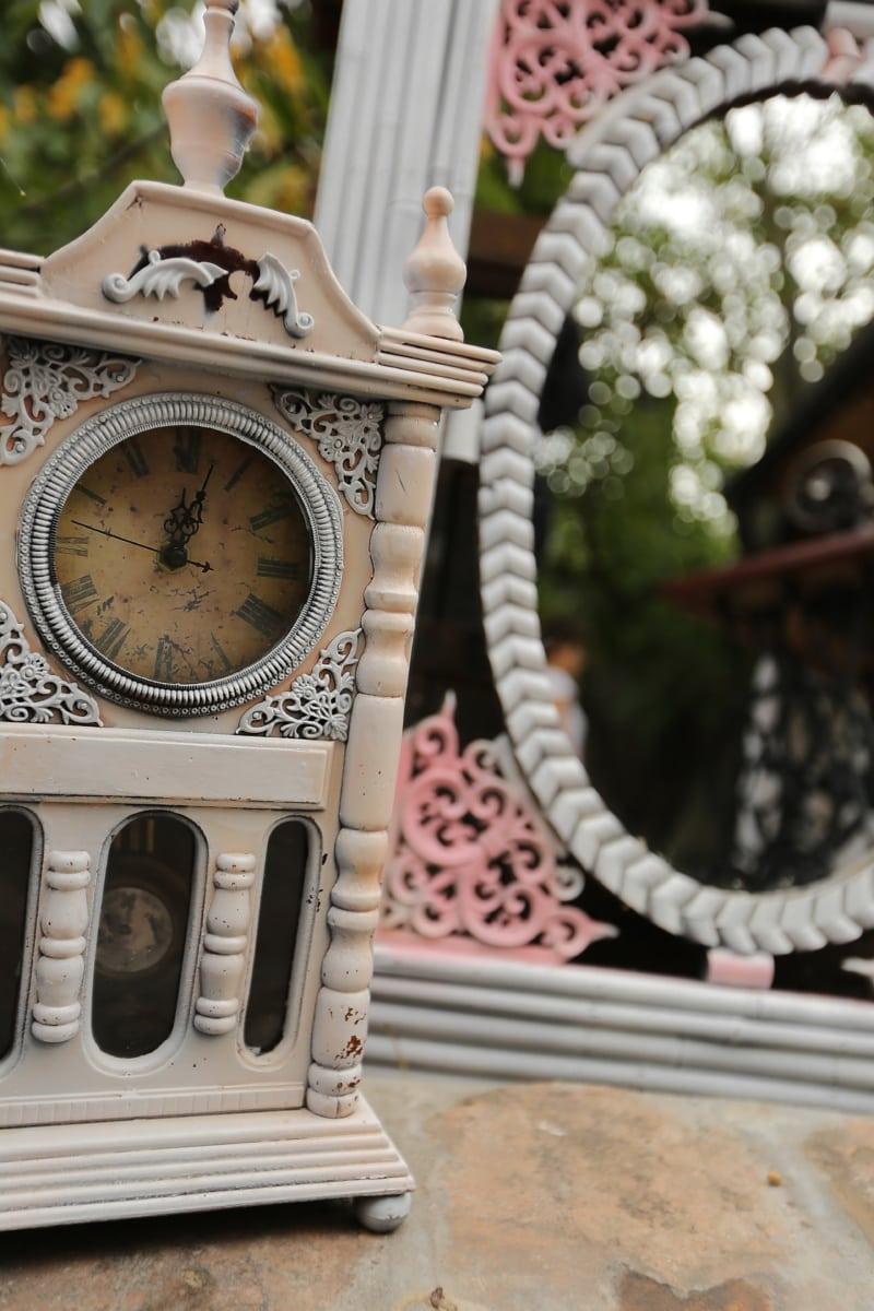vintage, baroque, horloge analogique, miroir, fermer, style ancien, réflexion, nostalgie, horloge, antique
