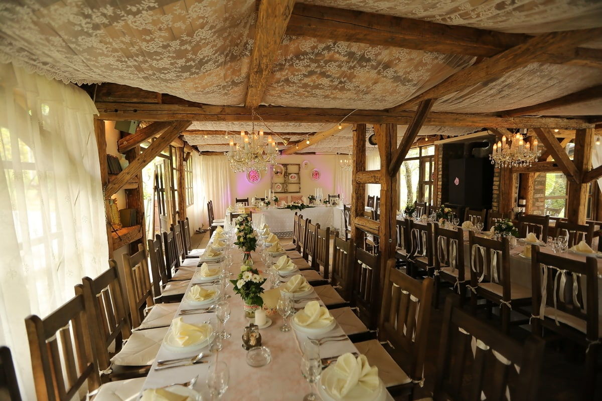 ロマンチックです, 結婚式場, 部屋, 家具, テーブル, 屋内で, インテリア, 椅子, レストラン, 内部