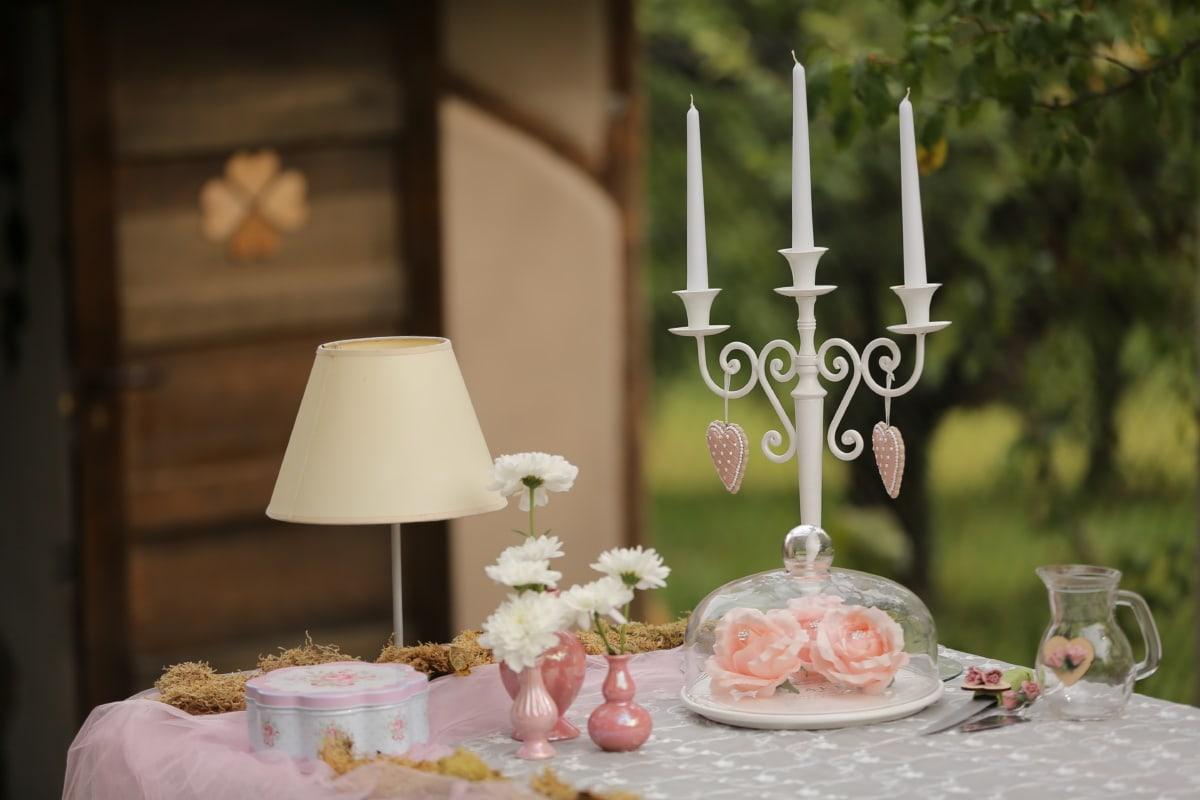 бяло, свещи, свещник, романтичен, елегантна, лампа, маса, бисквитки, ваза, свещ