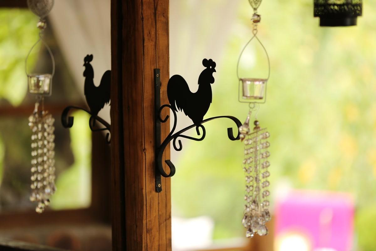 cast iron, rooster, metal, decoration, interior decoration, hanging, wood, vintage, old, antique