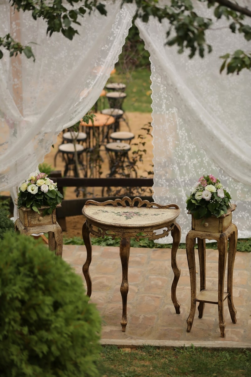 wedding venue, garden, romantic, tables, curtain, old fashioned, old style, building, structure, patio