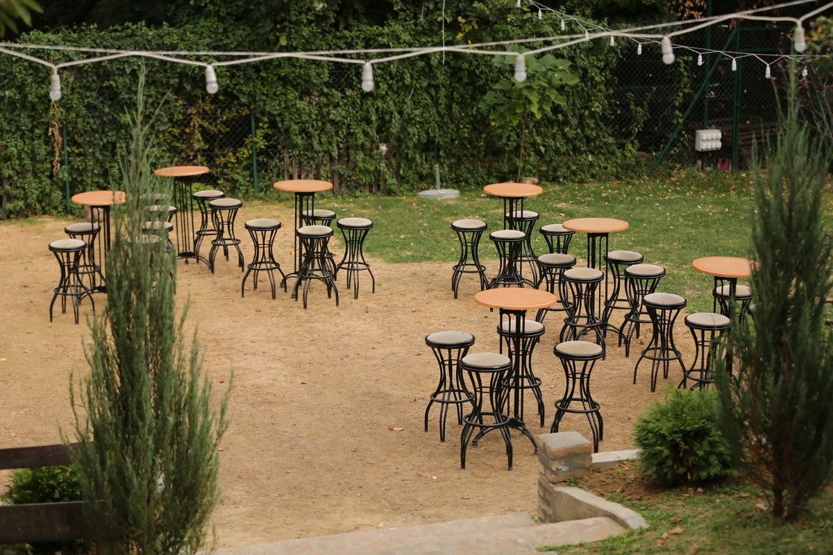 chairs, tables, empty, restaurant, garden, area, seat, patio, table, furniture