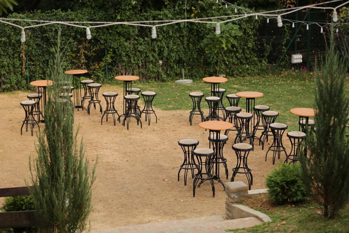 Stühle, Tische, leere, Restaurant, Garten, Bereich, Sitz, Terrasse, Tabelle, Möbel