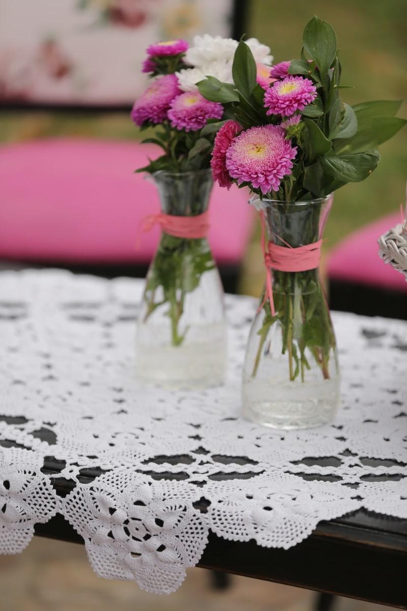 vase, dug, buket, blomster, ferskvand, helt tæt, blomst, blad, steg, stadig liv