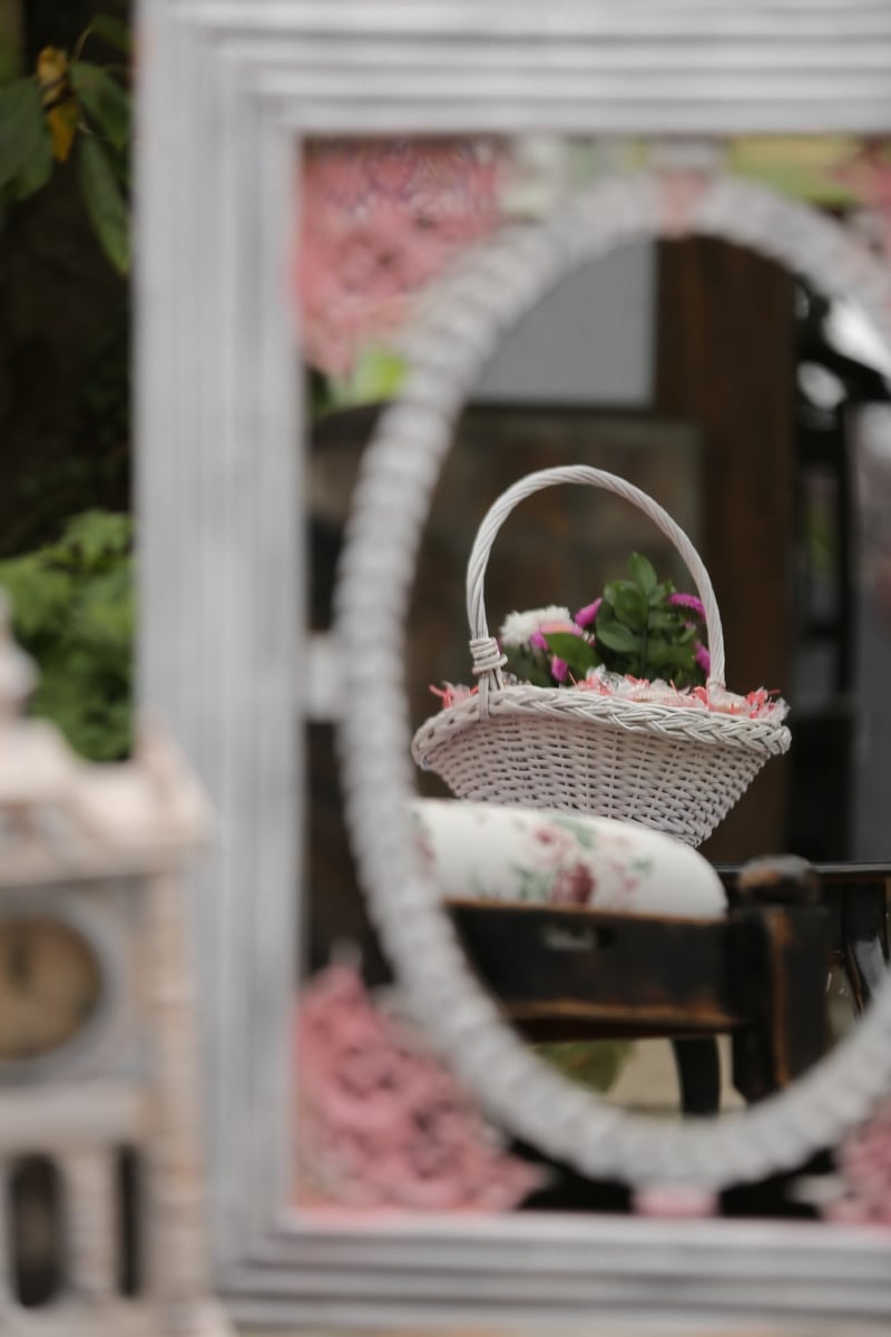 wicker basket, elegant, reflection, mirror, basket, container, flower, nature, outdoors, window