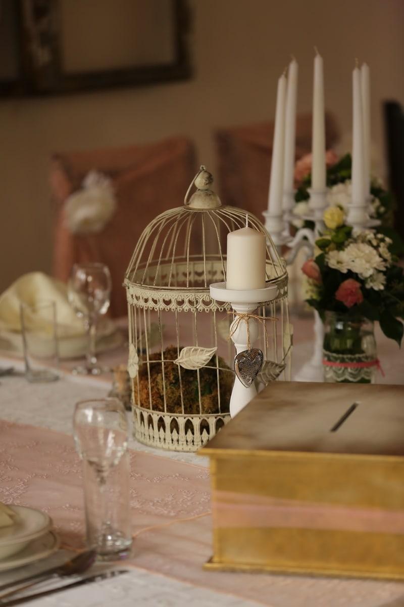elegant, Innendekoration, Kerze, Leuchter, Käfig, Glas, drinnen, Interieur-design, Hochzeit, Tabelle