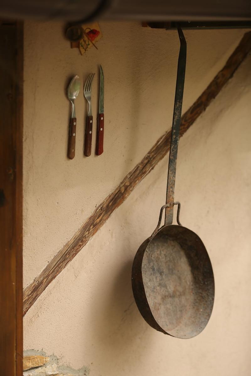 fourche, couteau, cuillère, village, mur, suspendu, décoratifs, Pan, conteneur, ustensiles de cuisine