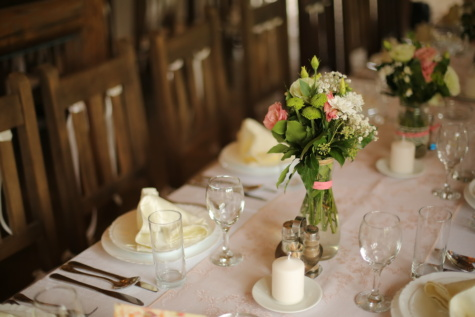 tablecloth, table, lunchroom, tableware, dining area, vase, bouquet, wedding, reception, dining