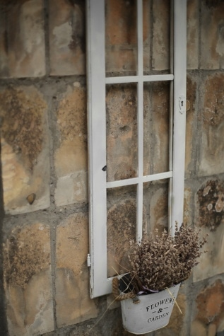 Ramka, okno, stary, doniczki, wieś, ściana, porzucone, architektura, brudne, pomieszczeniu