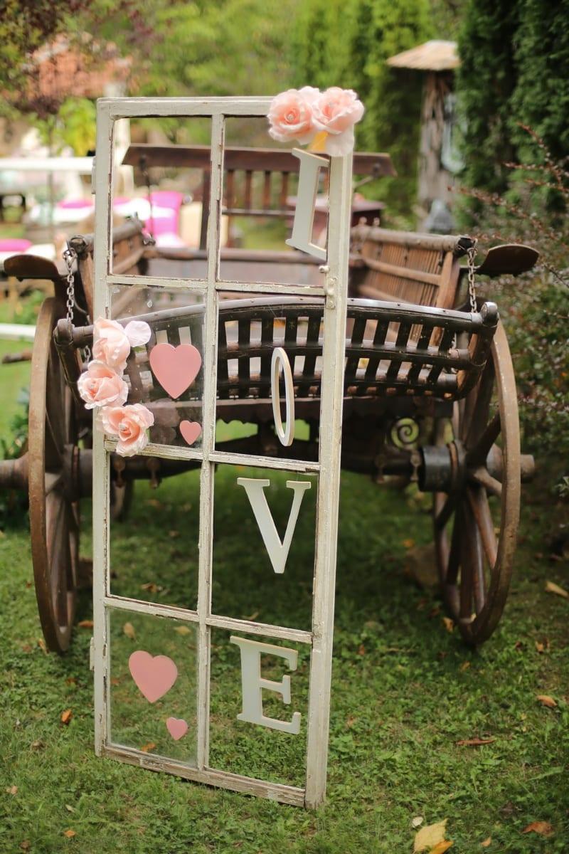 Jahrgang, Fenster, Kutsche, romantische, Liebe, Dekoration, Warenkorb, aus Holz, alt, Holz