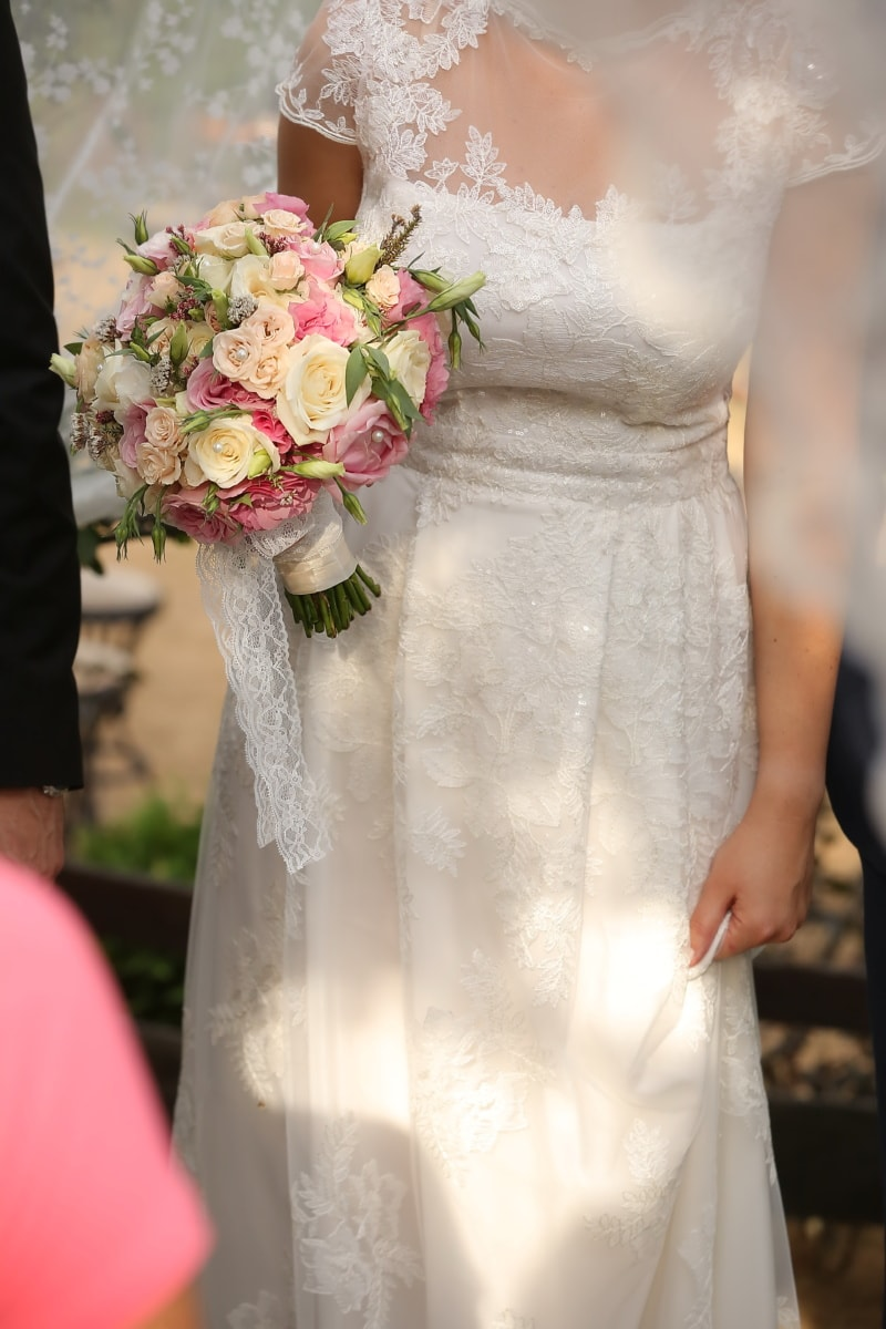 bouquet de mariage, mariage, robe de mariée, debout, la mariée, robe, amour, marié, bouquet, engagement