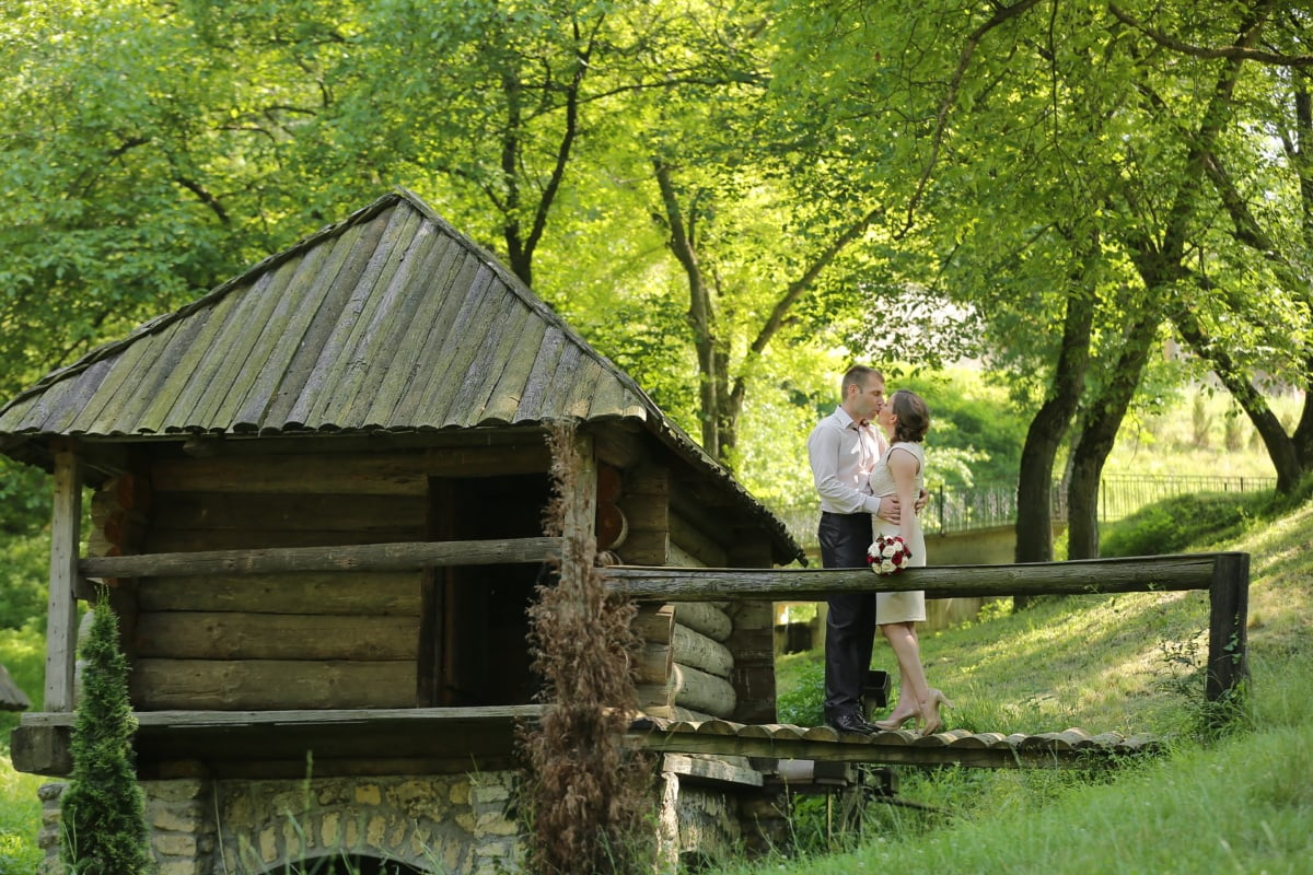 hangar, campagne, village, tout juste marié, mari, femme, Cottage, Grange, Création de, structure