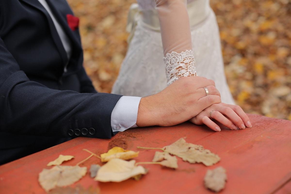 bague de mariage, mariage, automne, feuilles jaunes, affection, convivialité, femme, jeune marié, la mariée, amour
