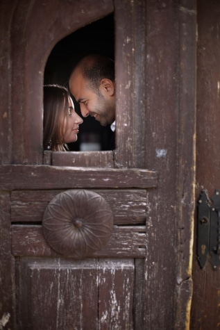 man, woman, front door, kiss, smile, hide, romance, door, people, old
