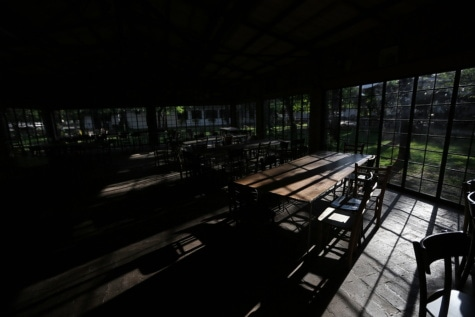 empty, interior, dark, night, inside, darkness, cafeteria, restaurant, shadow, light