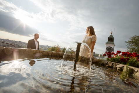 fountain, groom, bride, flower garden, sunshine, landmark, water, maze, woman, girl