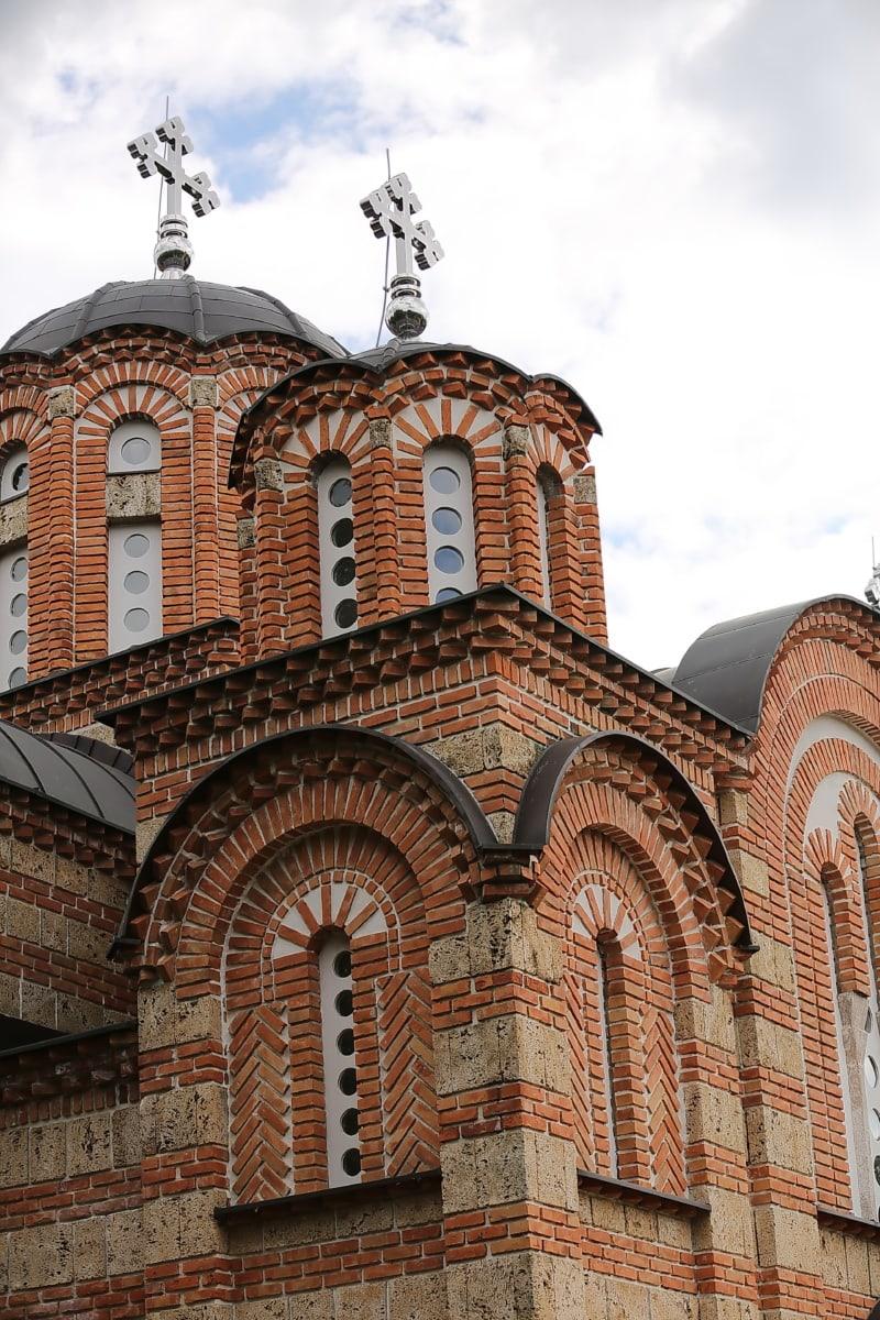 Église, steeple, orthodoxe, briques, religion, vieux, architecture, toit, façade, dôme