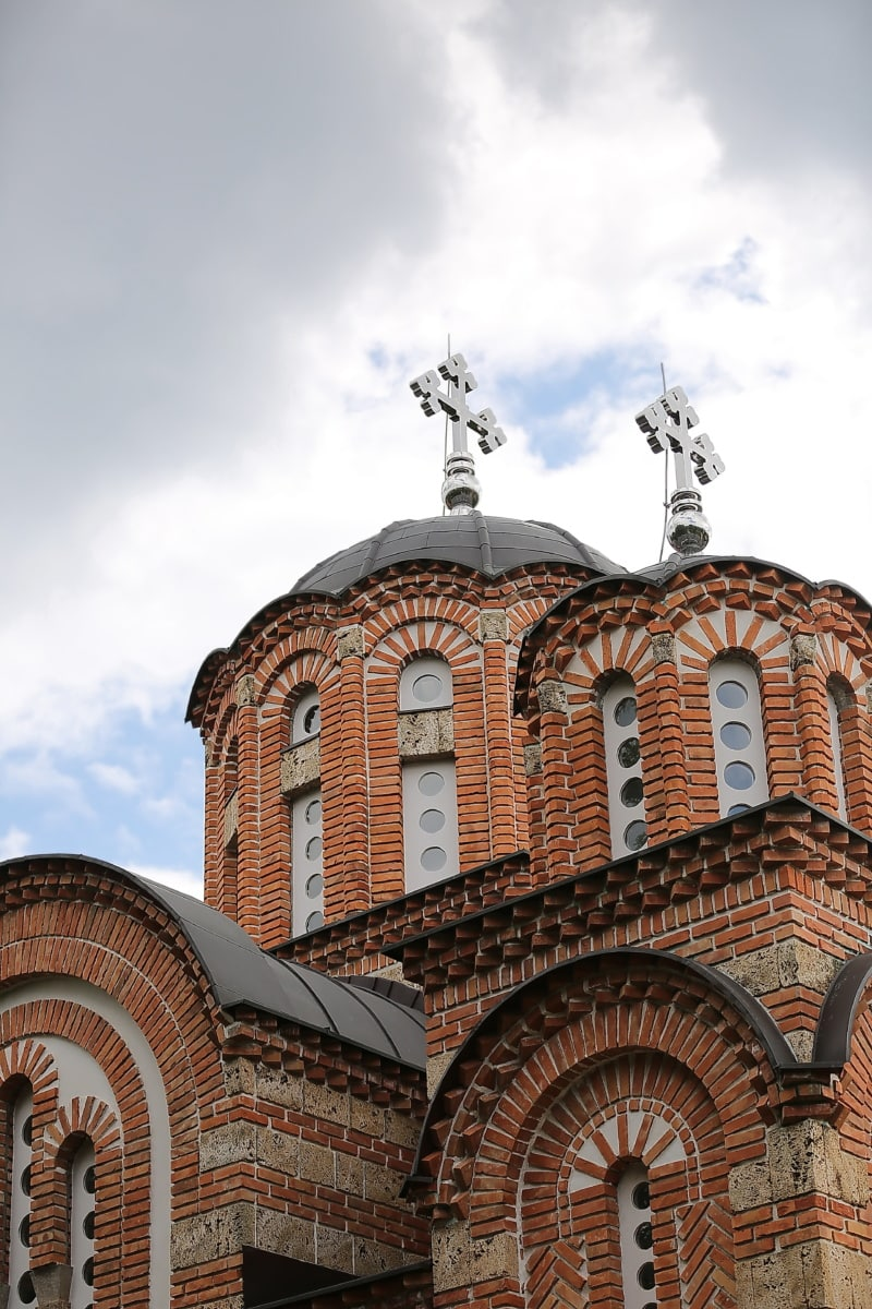 metallic, cross, church tower, dome, architecture, cathedral, building, religion, roof, church