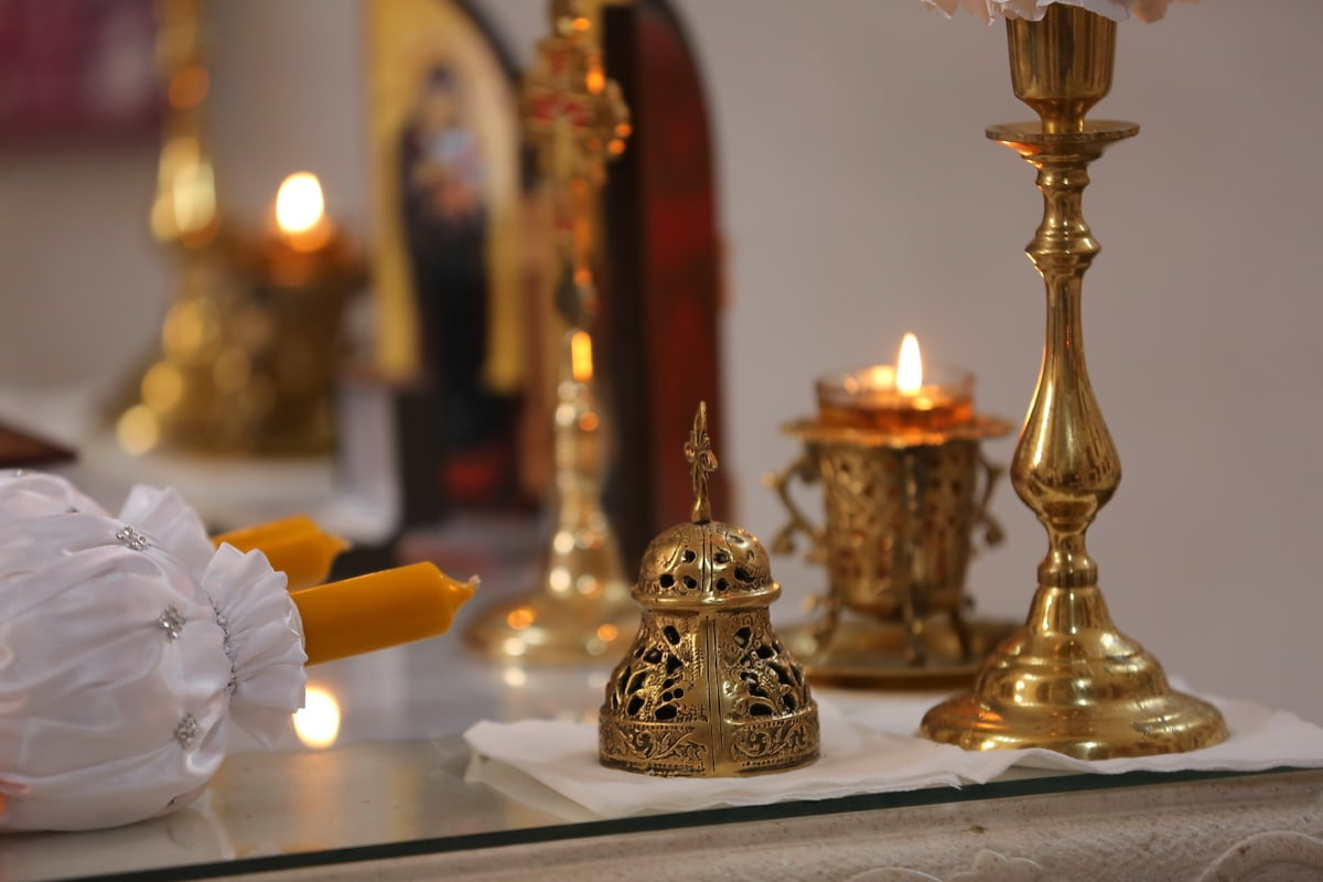 orthodoxe, Christentum, Altar, Kerzen, Leuchter, goldener Glanz, Candle-Light, Kerze, Interieur-design, Religion