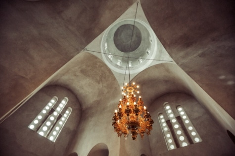chandelier, ceiling, arches, monastery, lights, spirituality, shade, architecture, church, light