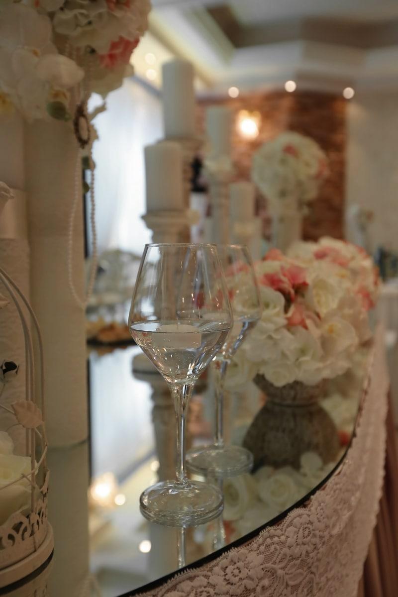 Design d'intérieur, fantaisie, salle de mariage, bougies, verre, parti, mariage, célébration, lunettes, luxe
