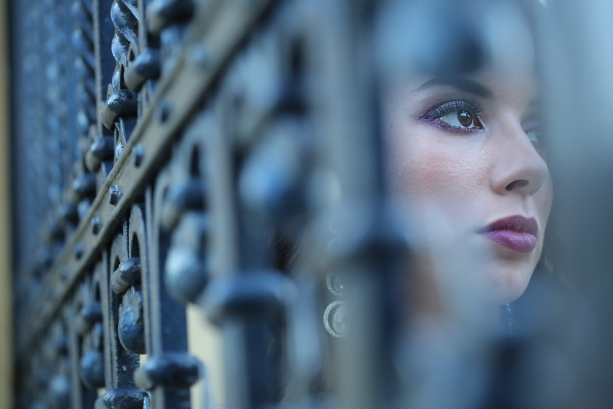 portrait, face, young woman, cast iron, fence, lipstick, cosmetics, makeup, woman, people