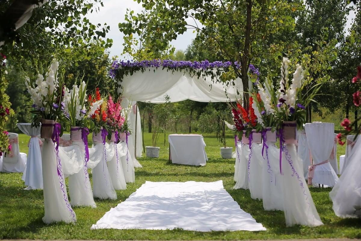 Teppich, weiß, Hochzeitsort, Luxus, elegant, Grün, schöne Blumen, Dekoration, romantische, Zeremonie