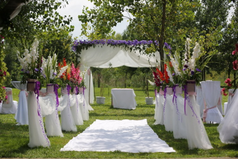 carpet, white, wedding venue, luxury, elegant, greenery, beautiful flowers, decoration, romantic, ceremony