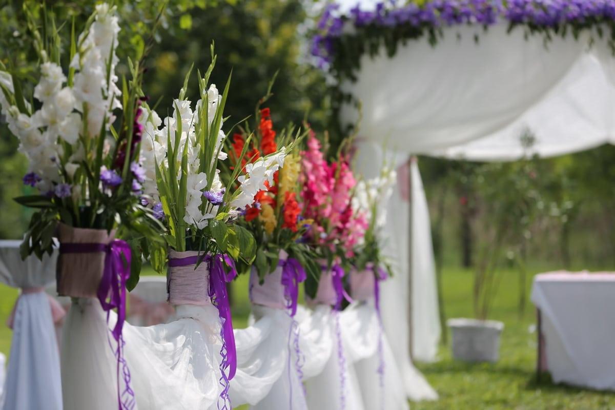 salle de mariage, parc, élégant, jardin, belles fleurs, fleur, bouquet, nature, robe, fleurs