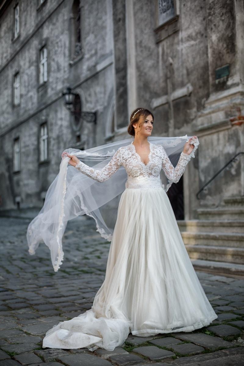 voile, magnifique, robe de mariée, la mariée, agréable à regarder, rue, robe, jupe, mode, mariage
