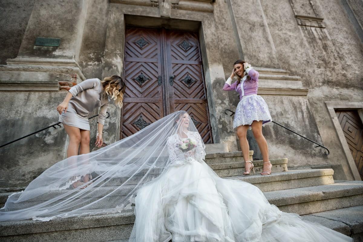 petite amie, jeunes filles, la mariée, robe de mariée, amitié, voile, amis, robe, jeune marié, femme