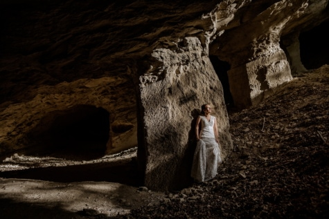 cave, posing, pretty girl, darkness, rock, tunnel, dark, light, girl, shadow